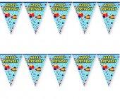 Happy Birthday Yatay Yazı Bayrak Flama Mavi...