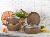 Eda Cookware 7 Parça Granit Tencere Tava Seti