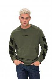 Karinmoda Erkek Baskılı Sweatshirt, Kanguru Cepli Haki
