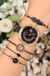 Deri Kordonlu Bayan Saat Bileklik Kombini