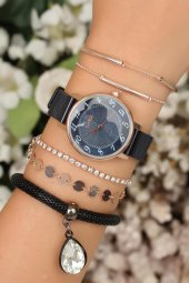Hasır Metal Kordonlu Bayan Clariss Saat Bileklik Kombini