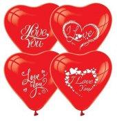 50 Adet Kırmızı Kalp Balonu I Love You Baskılı Helyumla Uçan-2