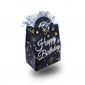 1 Adet Siyah Renk Beyaz Happy Birthday Yazılı Balon Ağırlığı