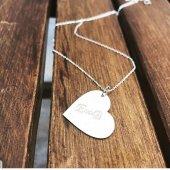 Gümüş Kalp Plaka Sonsuzluk İki Harfli Kolye Harf Kolye