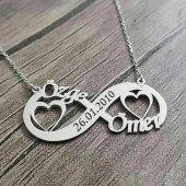 Gümüş Kalpli İsimli Kolye Kalp İsimli Sonsuzluk Kolye