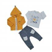 Erkek Bebek Ayı Modelli Ceketli Üçlü Takım 6 18 Ay Hardal C74044