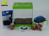 Yeşil Mini Akvaryum Seti Filtreli Hava Motorlu Komple Set