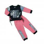 Kız Bebek Rainbow Yazılı Pullu Üç İplik İkili Takım 1 3 Yaş Nar Çiçeği C74063 1