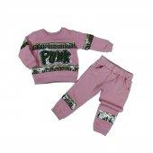 Kız Bebek Punk Yazılı Pul Detaylı Üç İplik İkili Takım 1-3 Yaş Pembe - C74063