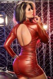 Mudumax Lame Düz Mini Kadın Elbise Fantazi Giyim Kırmızı
