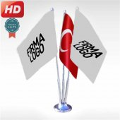 üçlü Firma+türk Bayrak, Masa Bayrağı Saten Bayrak + Krom Direk