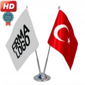 Ikili Firma+türk Bayrak, Masa Bayrağı Saten Bayrak + Krom Direk