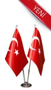 Ikili Türk Masa Bayrağı Saten Bayrak + Krom Direk + Altlık
