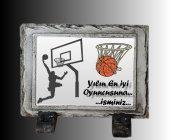 Basketbol Eskitme Siyah Doğal Taş Çerçeve,özel Hd Baskı