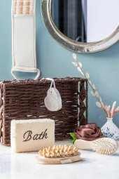 6lı Hasır Sepetli Kahverengi Banyo Seti