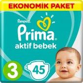 Prima Bebek Bezi Aktif Bebek 3 Beden 45 Adet Midi Ekonomik Paket (6 10 Kg)