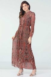 şal Desenli Şifon Elbise Mercan