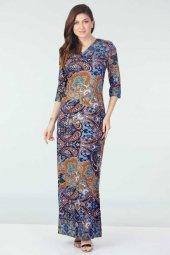 Yarım Kollu Desenli Elbise Mavi