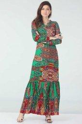 Desenli Elbise Kırmızı Yeşil