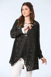Dantel Desenli Bluz Hırka Takım Siyah Turuncu