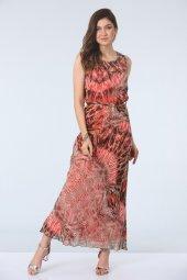 şal Desenli Elbise Mercan