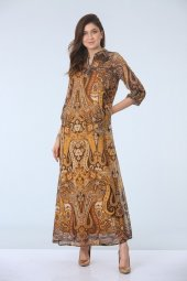 Apolet Kol Empirme Desen Elbise Sarı