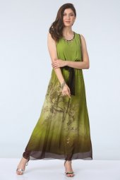 Belden Kuşaklı Elbise Yeşil