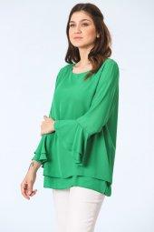 Kolları Volanlı Bluz Yeşil