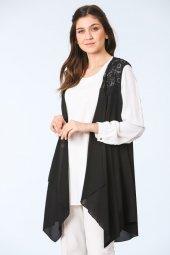 Sırtı Dantel Detaylı Tunik Bluz Takım Siyah