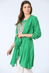 Kuşak Kemerli Tunik İkili Takım Yeşil