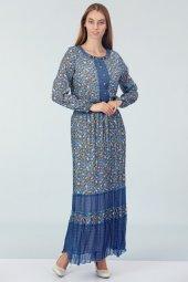 Batik Desenli Elbise Mavi