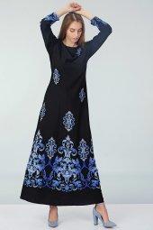 Etnik Desenli Elbise Siyah