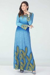 Taş İşlemeli Elbise Mavi