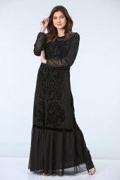 Işleme Detaylı Abiye Elbise Siyah