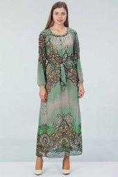 Desenli Şifon Elbise Yeşil