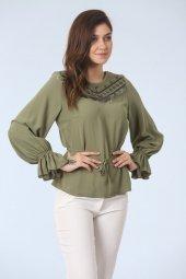 Volan Kollu Bluz Yeşil
