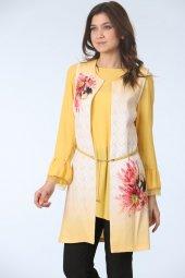 Kemerli Tunik Takım Sarı