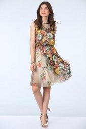 Belden Büzgülü Empirme Desen Elbise Vizon