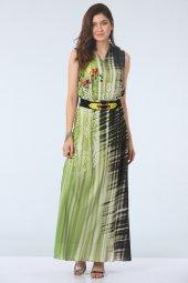 Kemerli Empirme Desen Elbise Siyah Yeşil