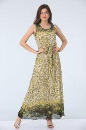 Kemerli Empirme Desen Elbise Sarı