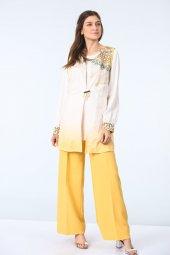 Pantolon Bluz Yelek Üçlü Takım Sarı