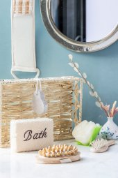 6lı Hasır Sepetli Bej Banyo Seti
