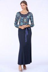 Desenli Uzun Elbise Lacivert