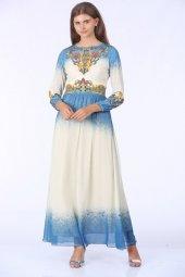 Taşlı Uzun Elbise Mavi