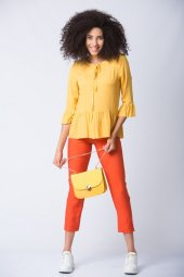 Yarım Volan Kollu Bluz Sarı
