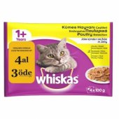Whiskas Kümes Hayvanı 4x100 Gr Yetişkin Kedi Konservesi