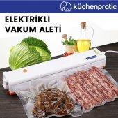 Küchen Pratic Ev Tipi Elektrikli Vakum Makinesi Gıda Vakum Makinesi 25 Poşet Hediye Mavi