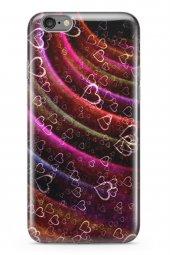 Apple İphone 6 6s Kılıf Silikon Arka Kapak Koruyucu Kalpli Neonla