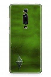 Xiaomi Mi 9t Kılıf Silikon Arka Kapak Koruyucu Yeşil Gemi Desenli