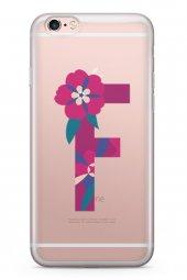 Apple İphone 6 6S Kılıf Silikon Arka Kapak Koruyucu F Harfi Çiçek